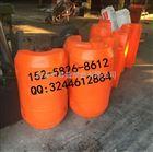 湖北汉江水面设备拦污浮体橙色带标志海上警示浮筒