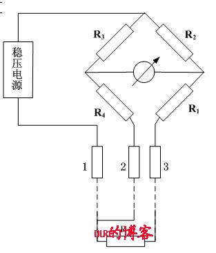 接线方法,把导线2与3分别接至电桥的两个桥臂上,当电线的电阻变化时.