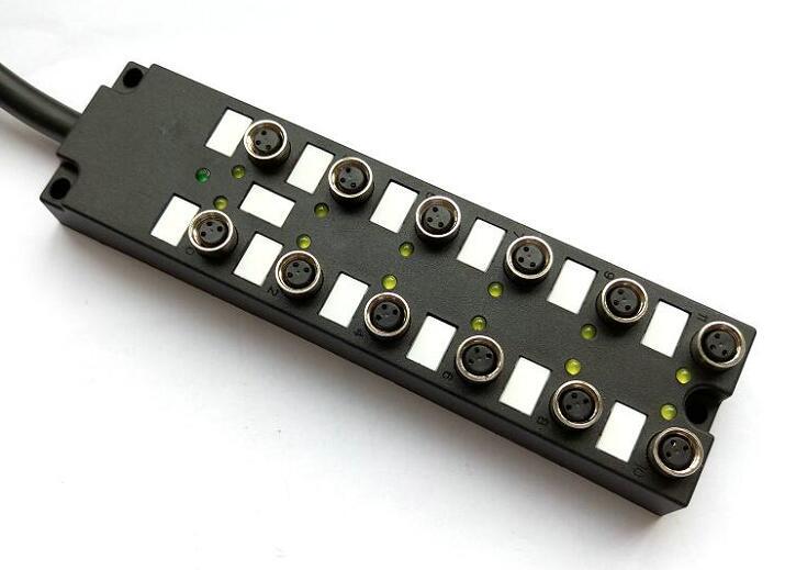 M8多接口分线盒产品内部线路结构分NPN、PNP两种Common类型,LED指示灯方便确认IO状态。